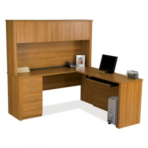 Bestar Embassy L-shaped workstation kit in Cappuccino Cherry