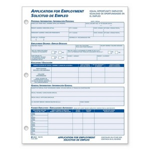 Job Application Form Adams business forms Adams Bilingual Employment ...