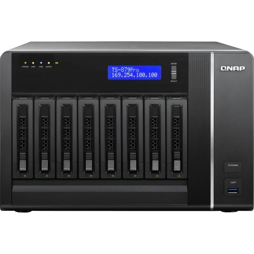 QNAP TS-879 Pro Network Storage Server - Intel Core i3 i3-2120 Dual-core (2 Core) 3.30 GHz - 8 x Total Bays - 2GB RAM DDR3 SDRAM - RAID Supported 0, 1, 5, 10, 5+Hot Spare, 10+Hot Spare, JBOD - 8 x 3.5