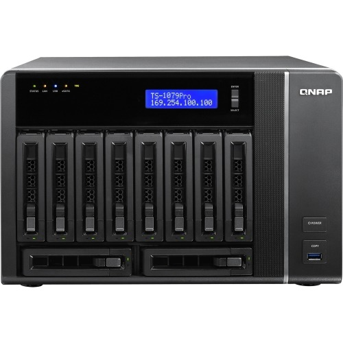 QNAP TS-1079 Pro Network Storage Server - Intel Core i3 i3-2120 Dual-core (2 Core) 3.30 GHz - 10 x Total Bays - 2GB RAM DDR3 SDRAM - RAID Supported 0, 1, 5, 10, 5+Hot Spare, 10+Hot Spare, JBOD - 10 x 3.5