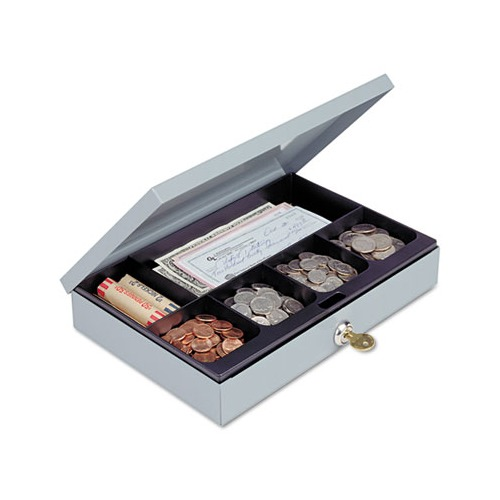 Heavy-Duty Steel Low-Profile Cash Box w/6 Compartments