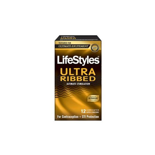 Lifestyles Ultra Ribbed Latex Condoms, 12 Count
