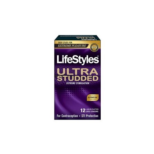 Lifestyles Ultra Studded Latex Condoms, 12 Count