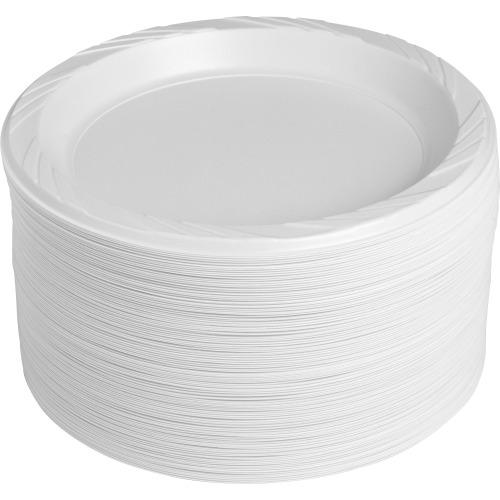 Genuine Joe Reusable Plastic White Plates