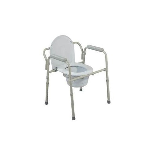 Bariatric Folding Commode, 650lb Capacity, Grey