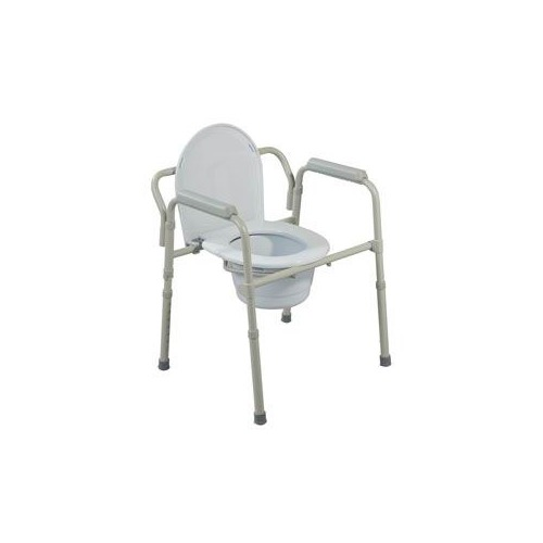 Deluxe Bariatric Drop-Arm Commode, Assembled, Grey