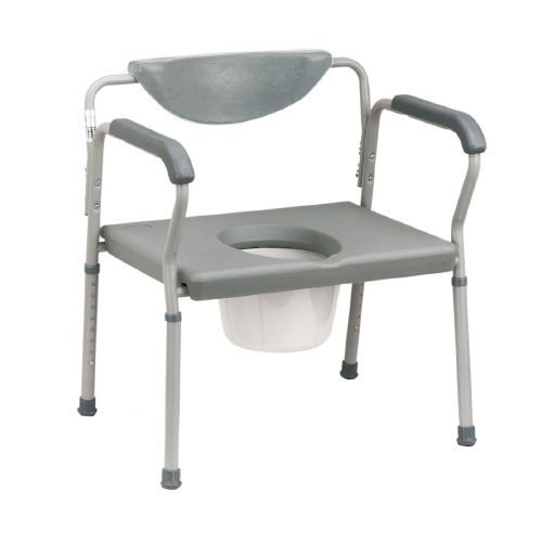 Bariatric Commode Chair Fixed Arm Steel Frame Padded Back 15 to 22 Inch