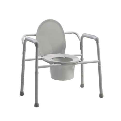 Bariatric Commode Chair Fixed Arm Steel Frame Seat Lid Back 17 to 23 Inch